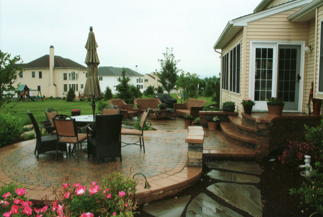 backyard stone patio