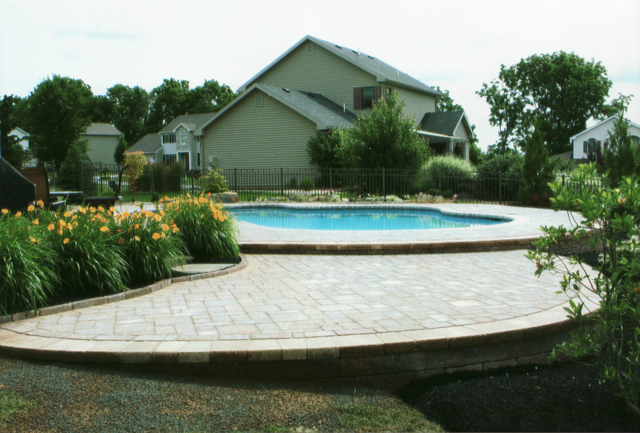 pool stone patio