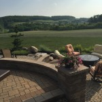 paver patio overlooking countryside in rural setting