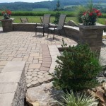 closeup of paver patio with retaining wall