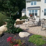 Flower garden planted around paver patio