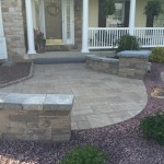 circular patio outside of front door
