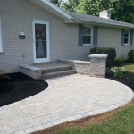 Stone steps and retaining wall leading up to the front door