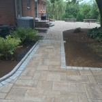 Closeup of detail on paver patio in backyard