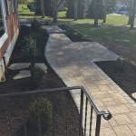 Closeup of paver patio in backyard