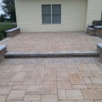 closeup of stonework on paver patio