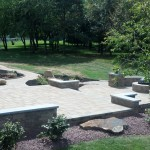 paver patio with retaining walls