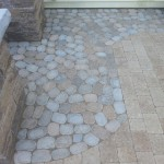 closeup of custom stone design for patio