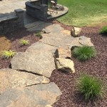 Natural stone steps leading through garden to backyard patio