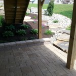 Paver patio underneath porch