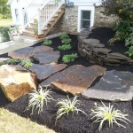 Wide stone steps going through garden with plants around it