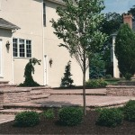 Stone patio with steps, retaining wall and walkway